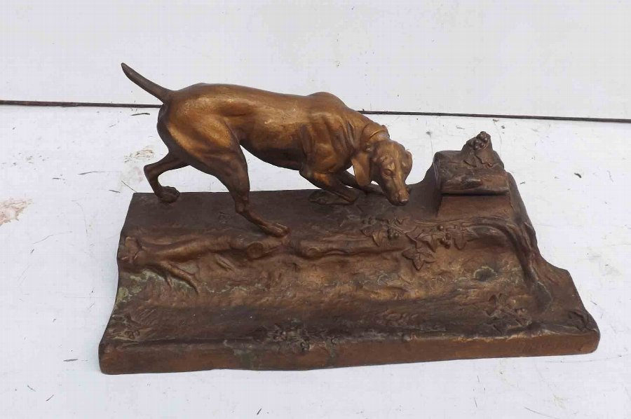 Dog on pen and inkwell stand by Brossy desk top organizer