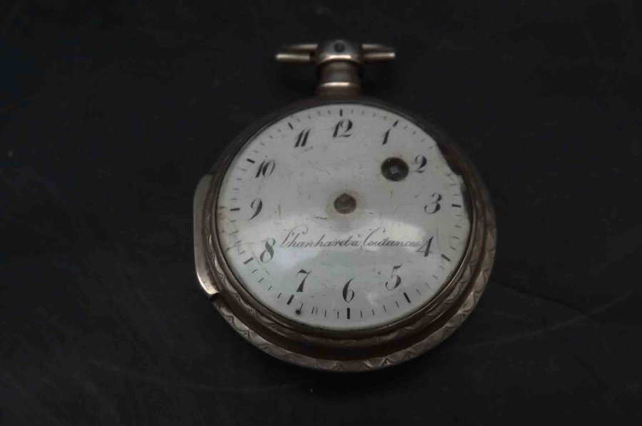 antique pocket watch silver cased verge French named maker late 18th century.