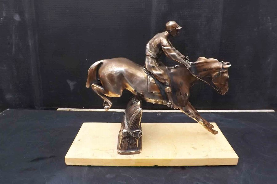 Horse & Jockey silver plate on marble base late Victorian