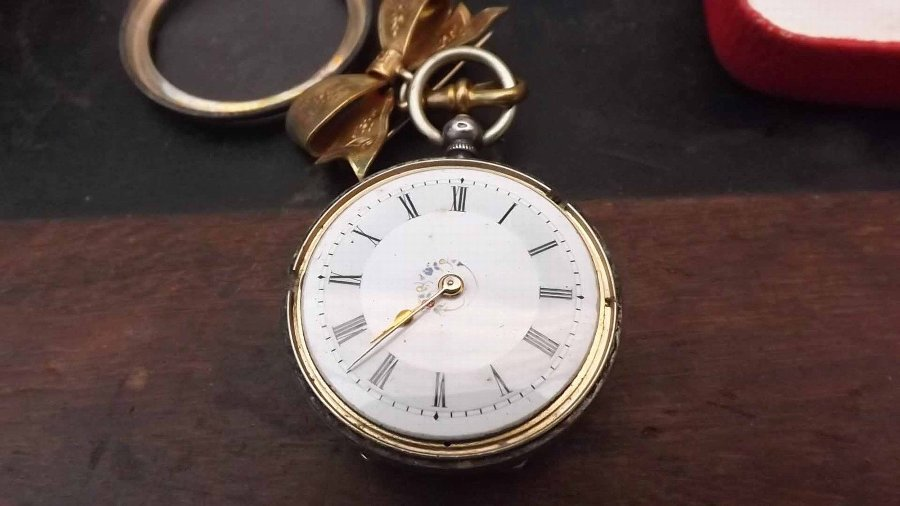 Antique silver fob watch with brooch and key in presentation box