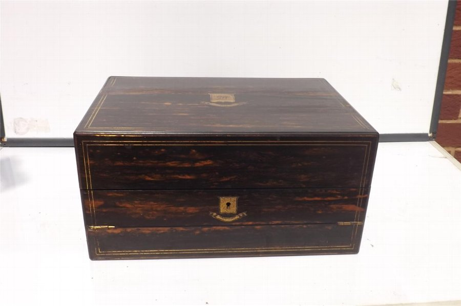 Writing Box of Distiction in Coromandle wood comes with key Victorian