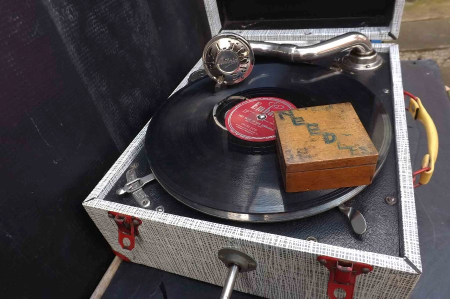 Antique record player vintage portable wind up rare quality model.