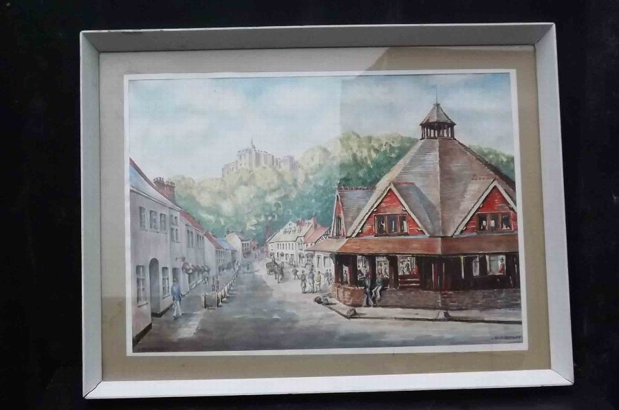 Painting by well known Solihull artist W J Bussey of Dunster town centre
