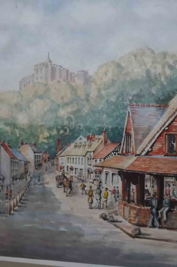 Antique Painting by well known Solihull artist W J Bussey of Dunster town centre
