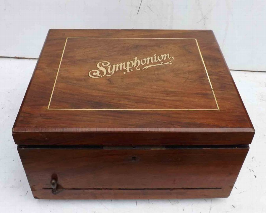 "symphonion walnut cased 10"" disk player"