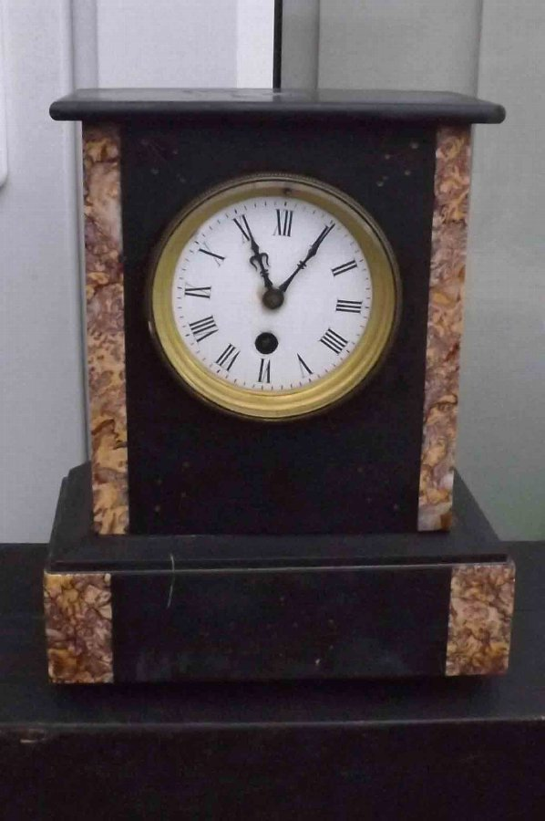 Antique antique mantle clock slate and marble time piece movement. Free UK post.