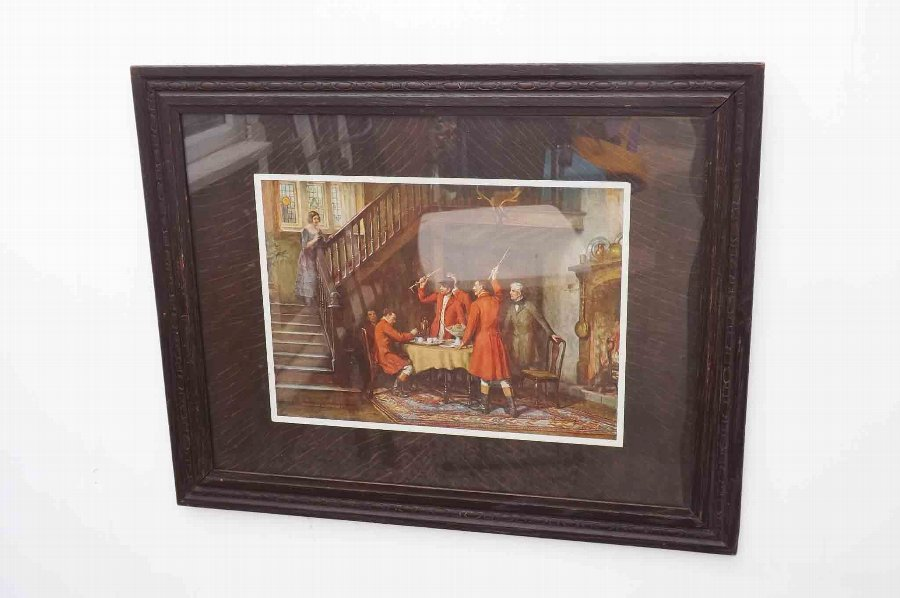 Vintage framed prints of the toast brfore the Hunt in quality oak glass framed.