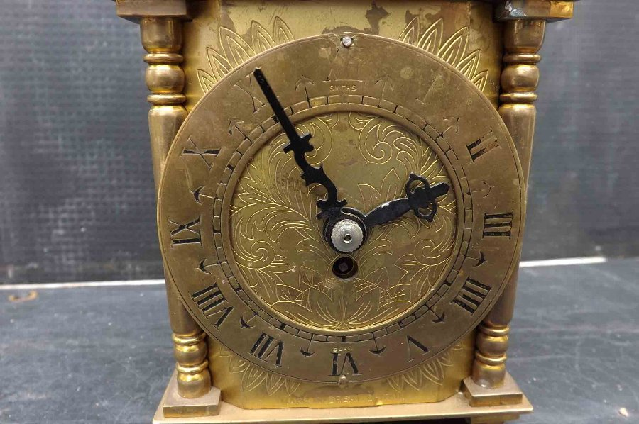 Antique Brass sided 8 day Smiths clock with free worldwide post.
