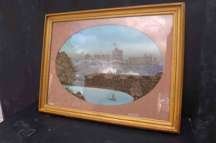 Windsor Castle in cork Victorian scene.