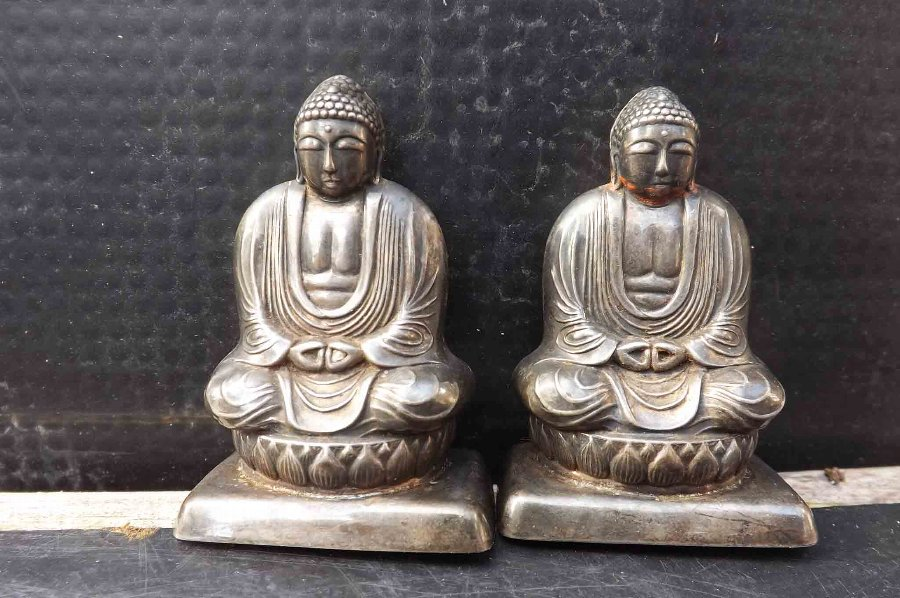 Budda's sterling silver pair of sifters rare items