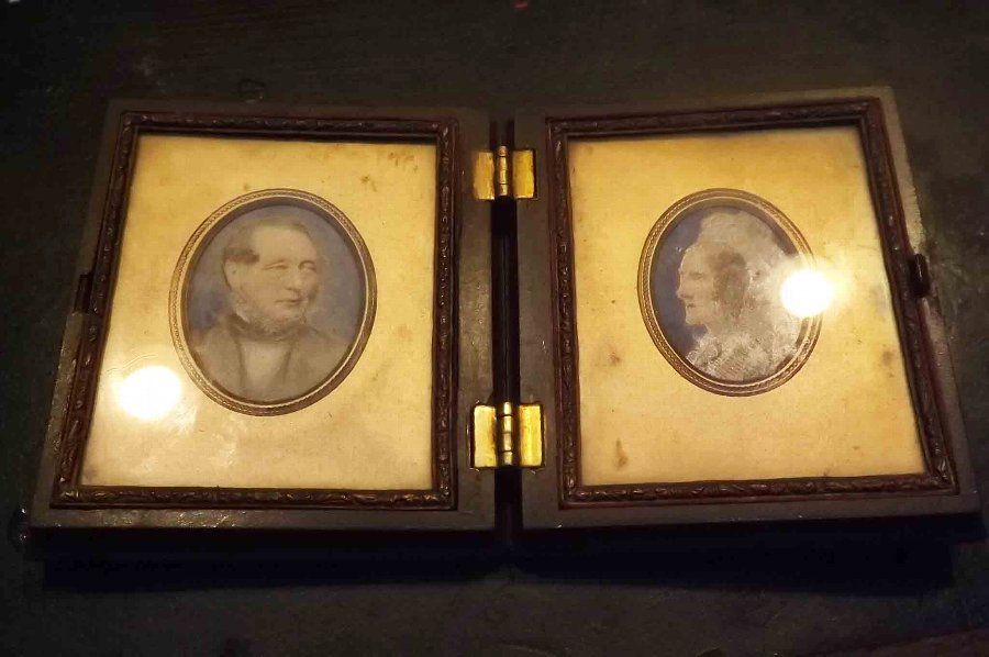 Minature paintings of Husband and Wife in original case.
