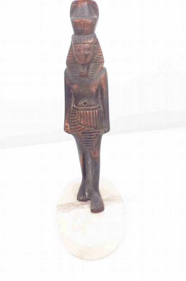 Egyptian bronze of a King on marble base old and wonderful