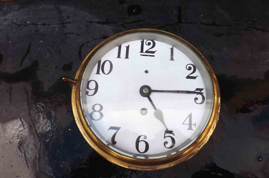Ships clock brass eight day mechanical movement