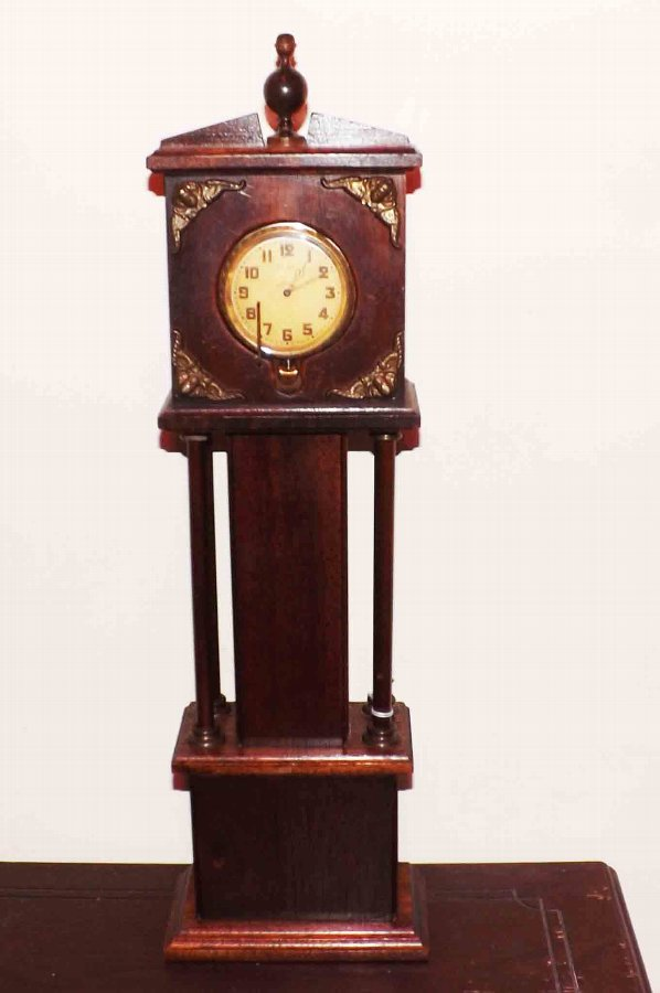 longcase grandfather clock mahogany minature cased
