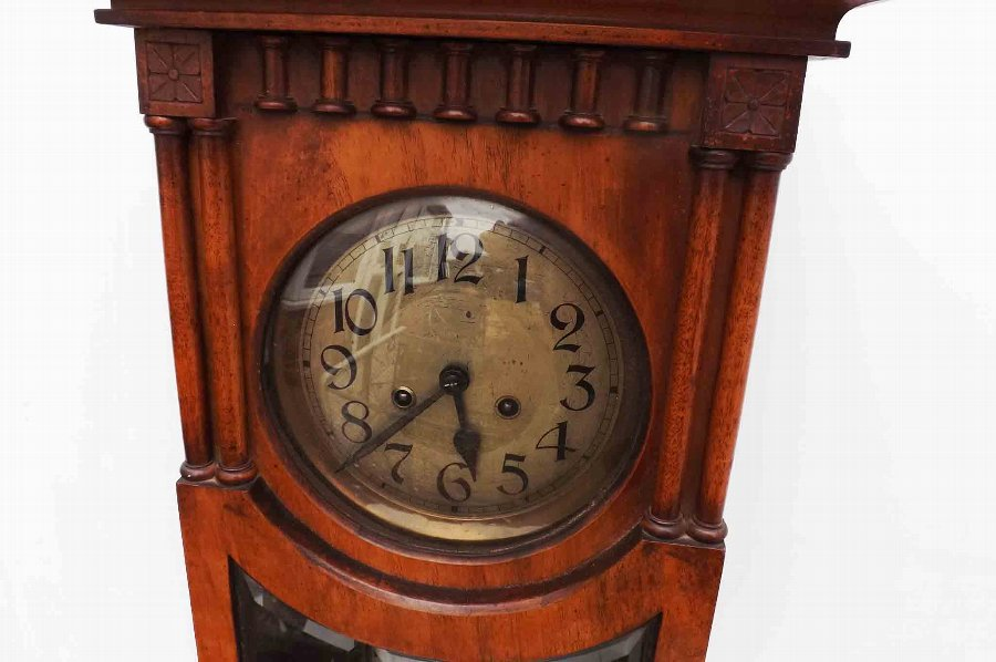 Antique Edwardian walnut cased antique wall clock