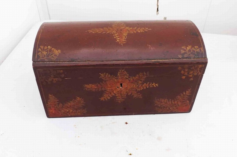 Georgian Tea Caddy hand painted super rare domed top