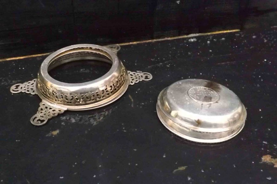 Antique pair of silver coasters