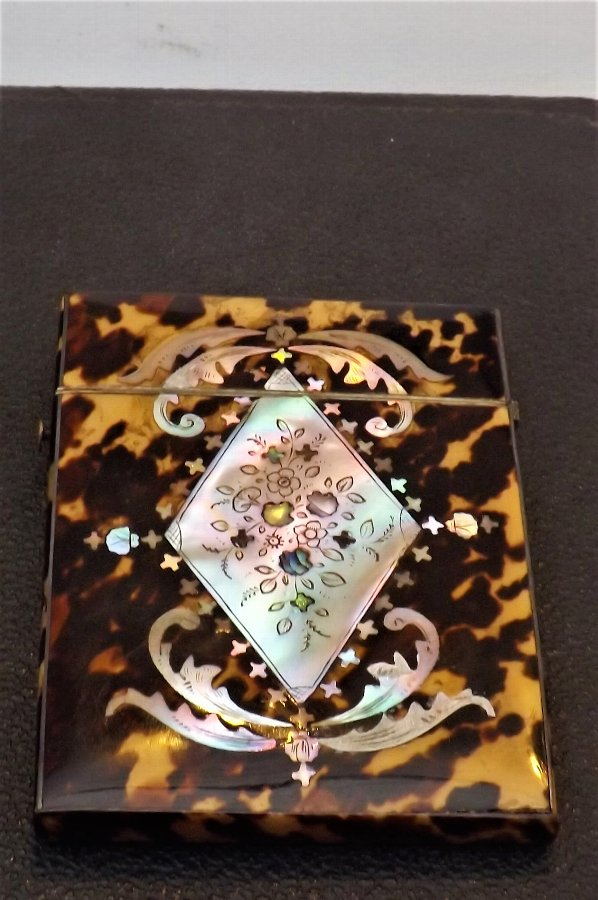 card case Tortoise & mother of Pearl victorian card case