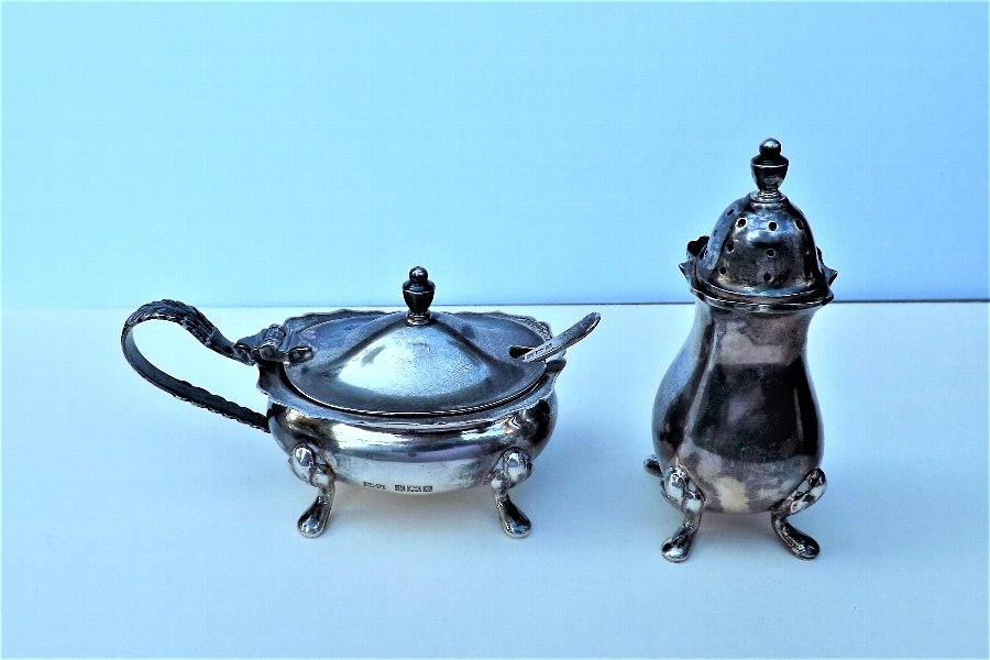 Antique Solid Silver shaker & mustard pot
