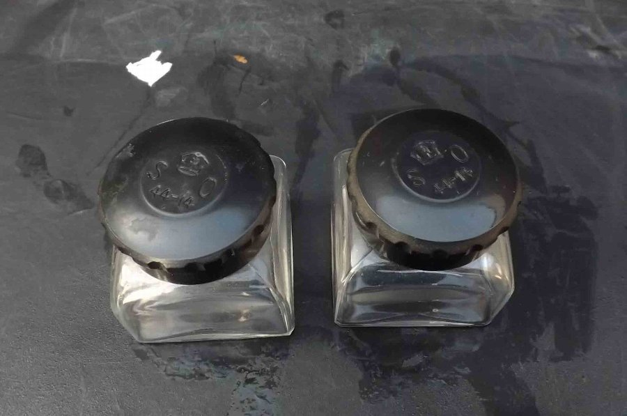 Antique 2ww pair of matching inkwells