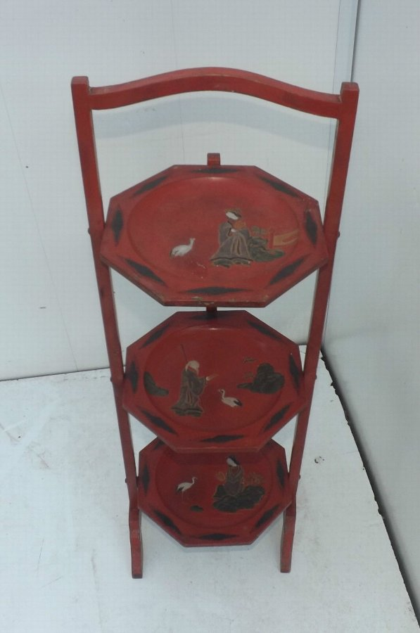 3 tier cake stand hand painted in Chinese laquered scenes
