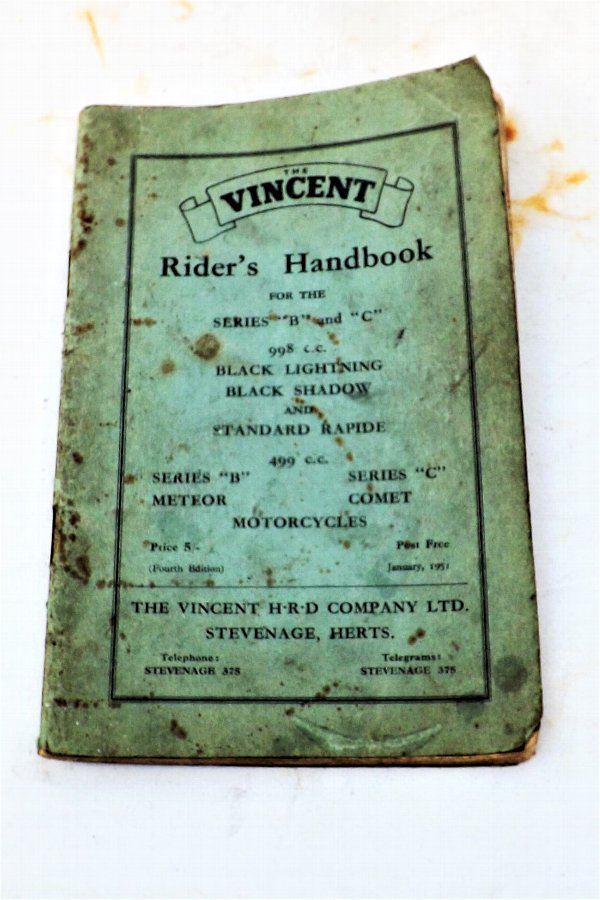 Vincent Rider's Handbook 1951 Black Shadow & other Vincent's bikes