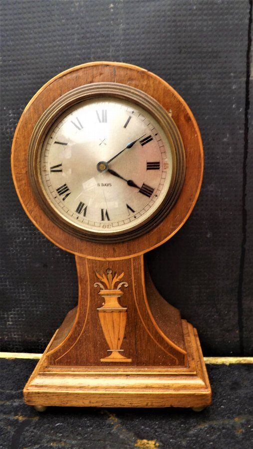 Balloon Clock mahogany inlaid Edwardian Era
