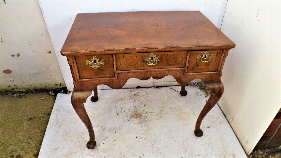 Early 18th Century Cabriole leg Featured Walnut veneered  Lowboy.