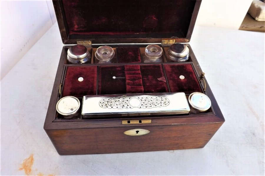 Antique Victorian ROSEWOOD & Mother of Pearl Vanity Travel Companion Box with contents