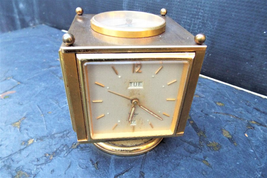 5 In 1 Desktop Clock by IMOF brass revolving 8 day with Day/Date