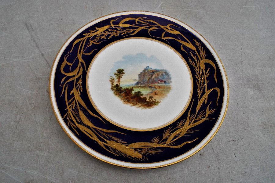 Rare antique hand painted country scenes serving plate Serves? unknown
