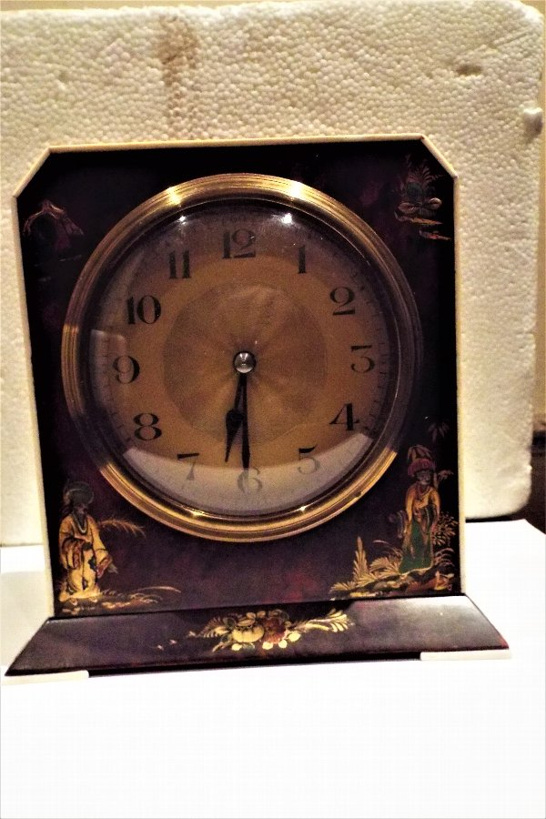 Edwardian clock, Chinese scenes painted on tortoise shell