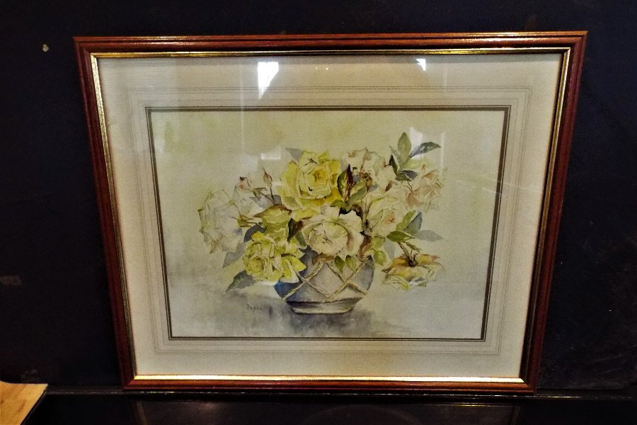 WATERCOLOUR PAINTING OF A STILL LIFE FLORAL SCENE SIGNED