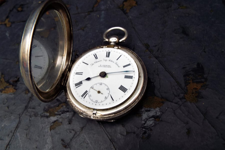 Antique Rare movement, Solid silver hallmarked mans pocket watch