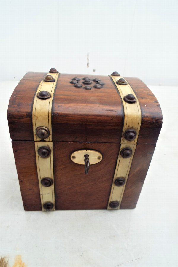Antique Rosewood Tea Caddy Box