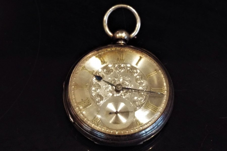 Antique Victorian Silver dialed solid silver fusse pocket watch