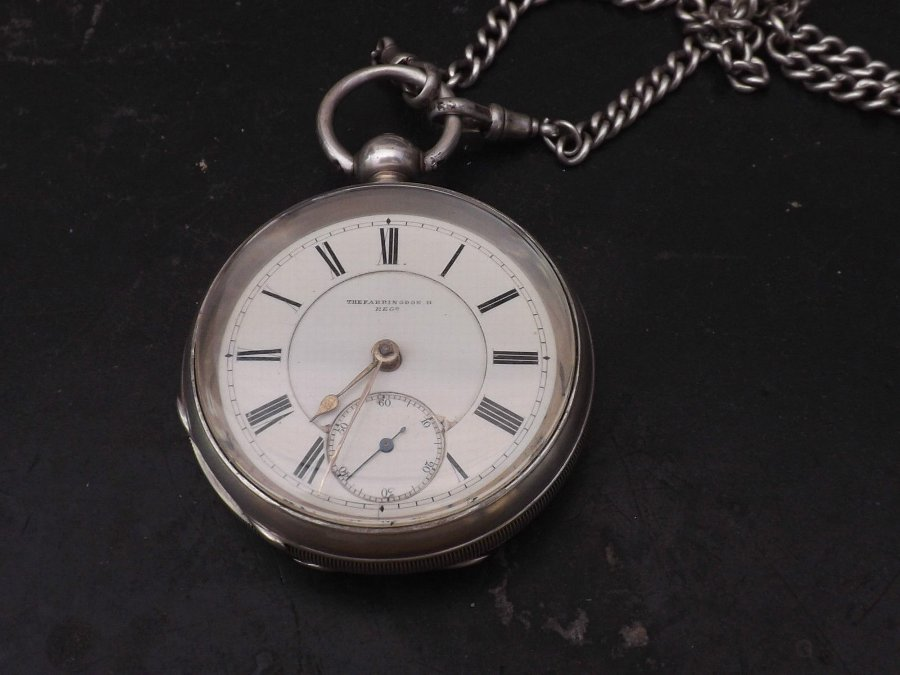 solid silver pocketwatch & chain