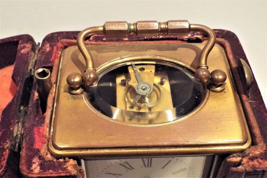 Antique Brass Carriage Clock in original case with key
