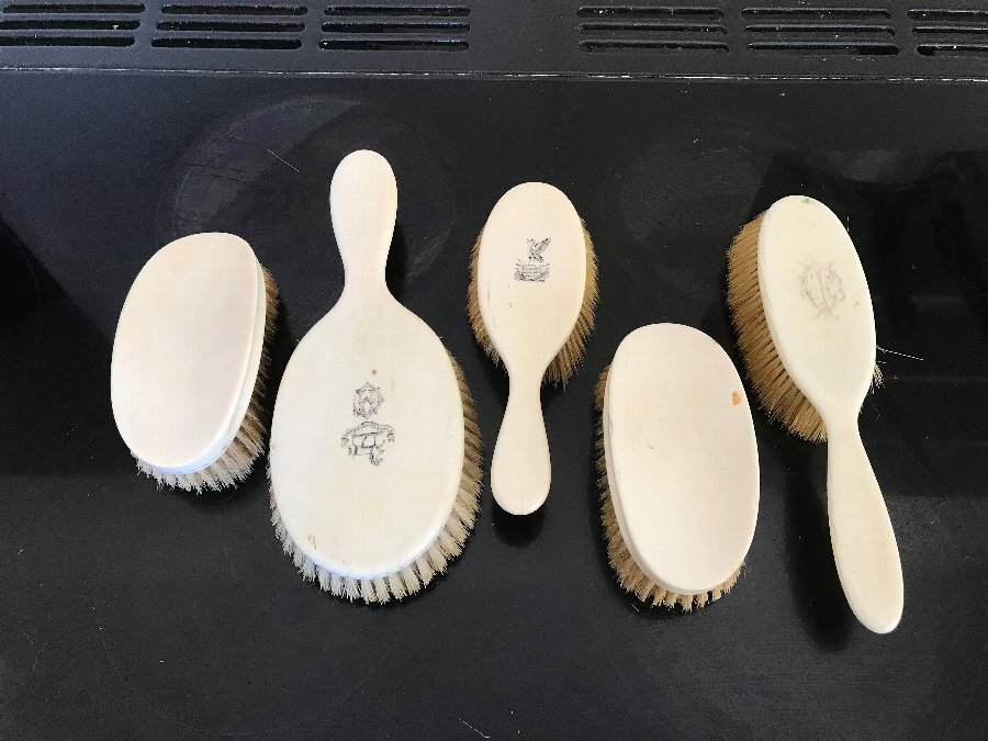 5 set Victorian ivory brushes