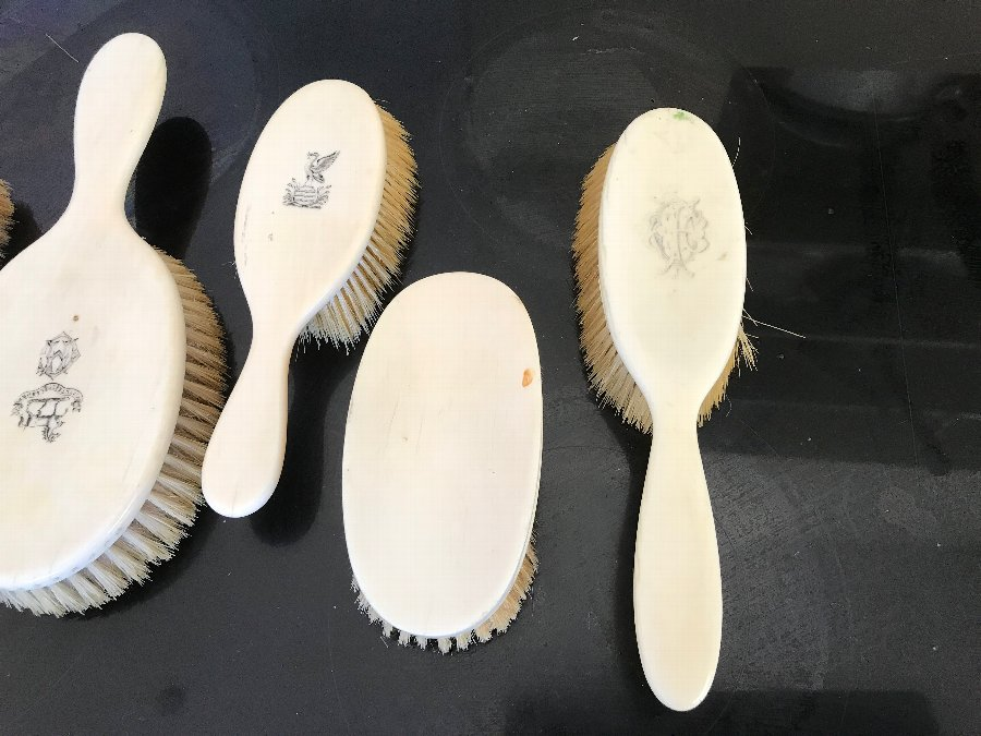 Antique 5 set Victorian ivory brushes