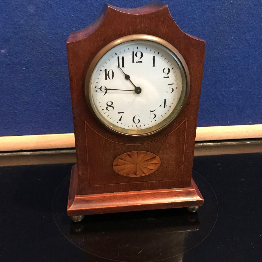Edwardian mantle clock mahogany cased with inlays