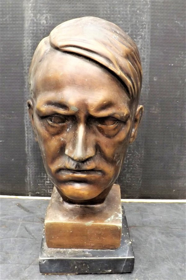 Bronze and marble bust of Adolph Hitler