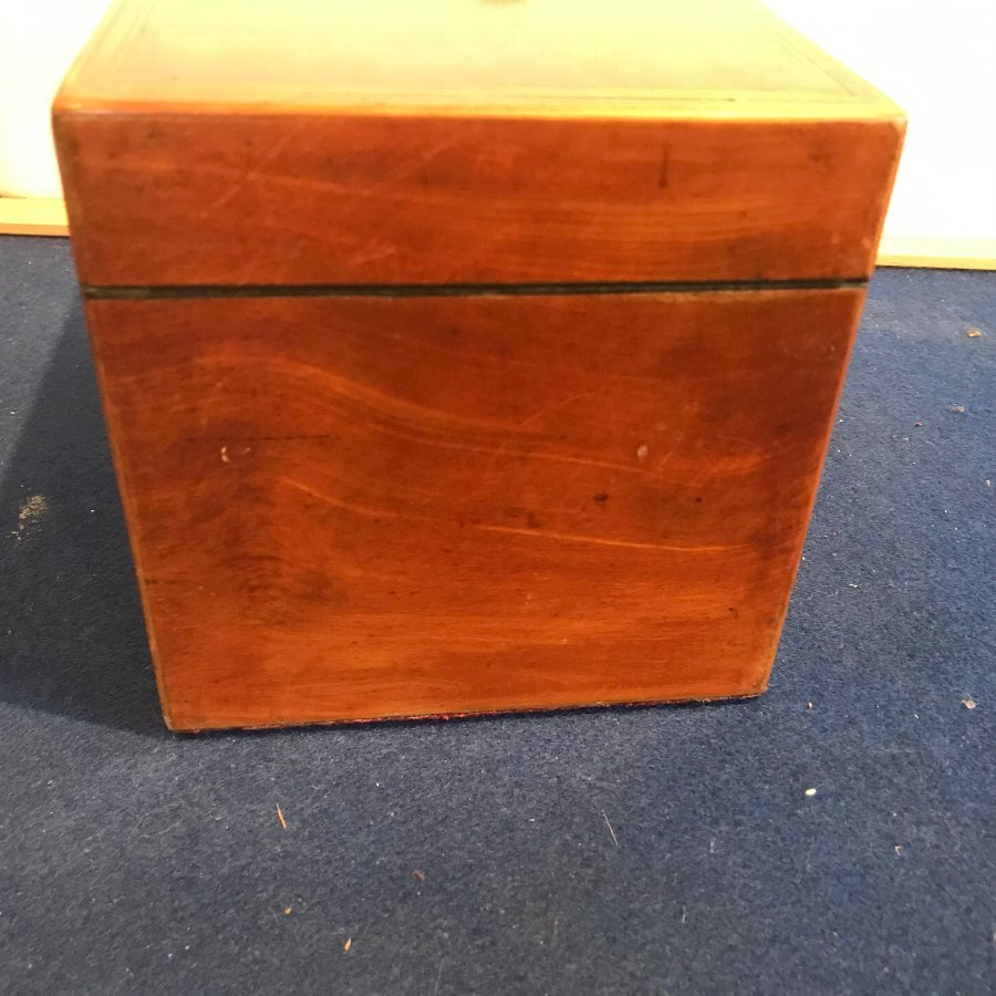 Antique Satinwood with inlays tea caddy
