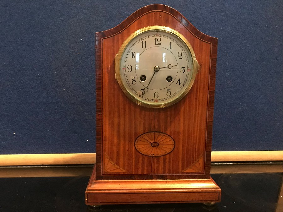 Satinwood with inlays mantle clock Edwardian