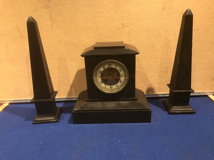 Egyptian clock garniture  Clock set