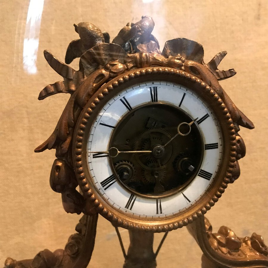 Antique Rare French cherub on a swing clock, can be bought as not a mass auctions pages listings
