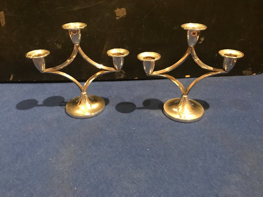 Superb pair of modernists silver plated candlesticks
