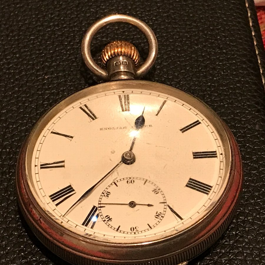 Solid Silver Gentleman's English Lever Pocket Watch