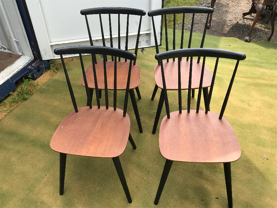 Danish Set of Four matching dining chairs