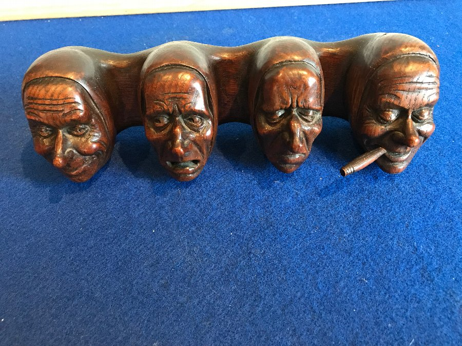 Rare wooden carved pipe rack Fantastic